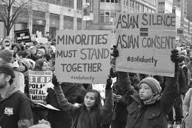 Asian American protestors gather to speak against the spike of hostility against them (https://commons.wikimedia.org/wiki/File:Asian_American_protestors.jpg).