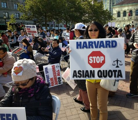 Protesters crowd in Copley Square, Boston to voice their support on the lawsuit from Students for Fair Admissions against Harvard on October 14, 2018. (https://commons.wikimedia.org/wiki/File:Students_for_Fair_Admissions_Rally.jpg)