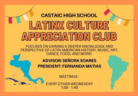 Poster Design Credit: Danielle Estagle ****************************************** Interested in joining the Latinx Culture Appreciation Club? Feel free to browse through this gallery to gain a more in depth look into a couple of our past meetings, contact information if you would like to know more about the club, and a general overview on what the club has to offer. You can also follow our Instagram, @chslatinxcultureclub, for weekly updates.