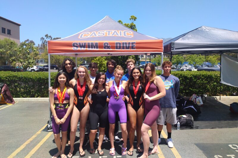 The swim team from Castaic high school after the CIF championship. Courtesy of Kyle Cowan